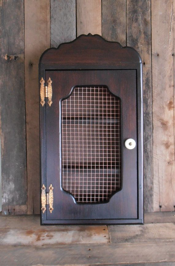 Vintage Wooden Wall Mounted Curio Cabinet by WileWood on Etsy