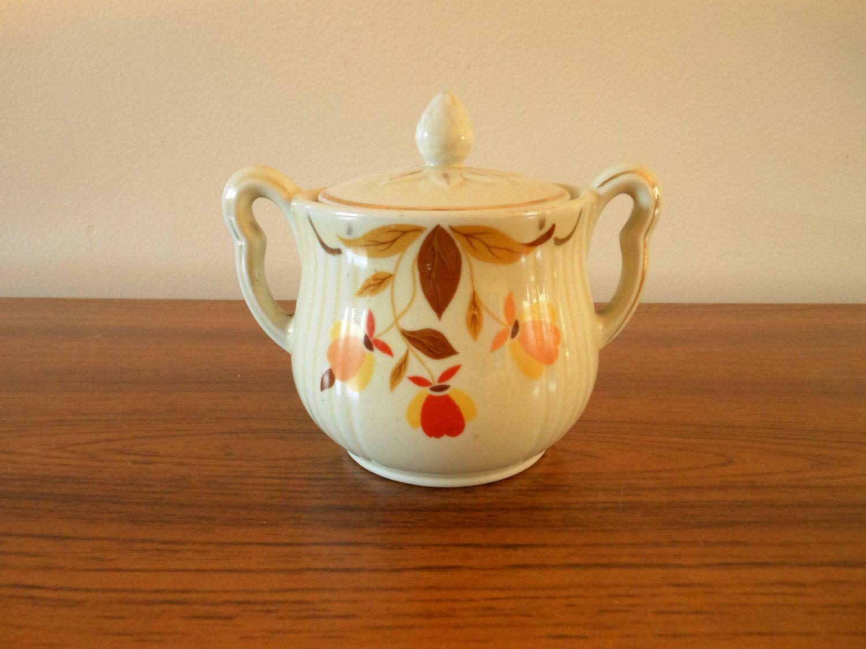Sugar bowls with lids - Hall Autumn Leaf Rayed Sugar Bowl Lid Jewel Tea Sugar Bowl With Lid
