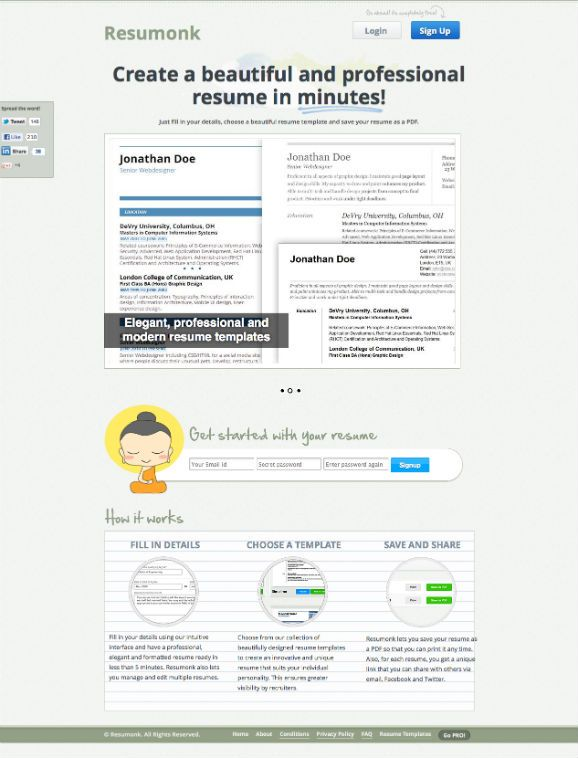 Resumonk is a simple \ intuitive resume generator that helps you - simple resume builder