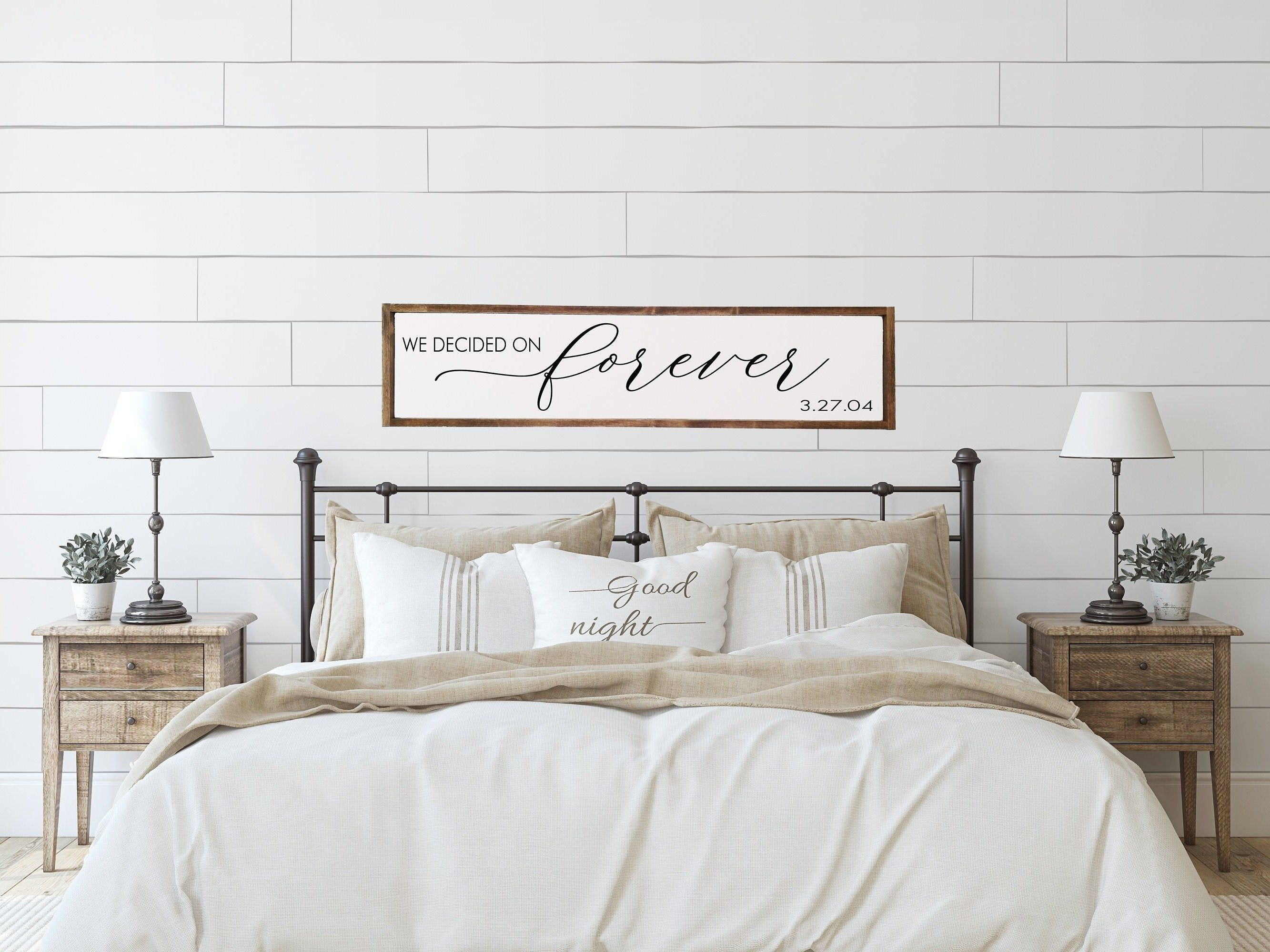 bedroom wall decor We decided on Forever Sign Above