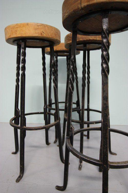 Miraculous Antiques Atlas Set Of Four 1940S Oak Steel Bar Stools Cjindustries Chair Design For Home Cjindustriesco