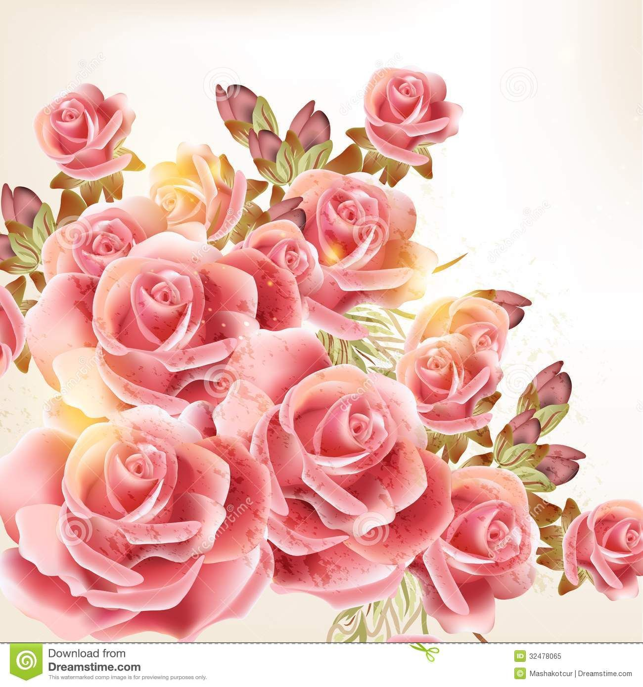 Beautiful vector background vintage style rose flowers cute pink beautiful vector background in vintage style with rose flowers stock vector amipublicfo Gallery