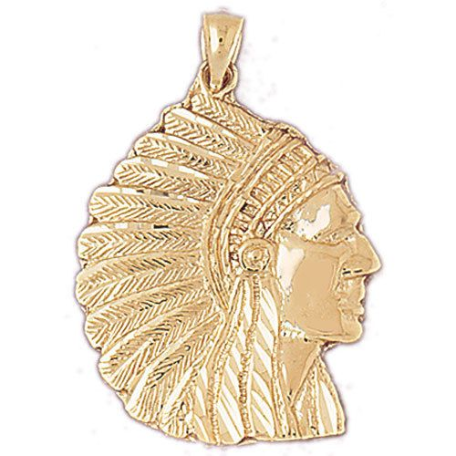 New 14k Yellow Gold Native American Indian Chief Head Dress Charm Pendant 14k Gold Charms Gold Charm 14k Gold Pendants
