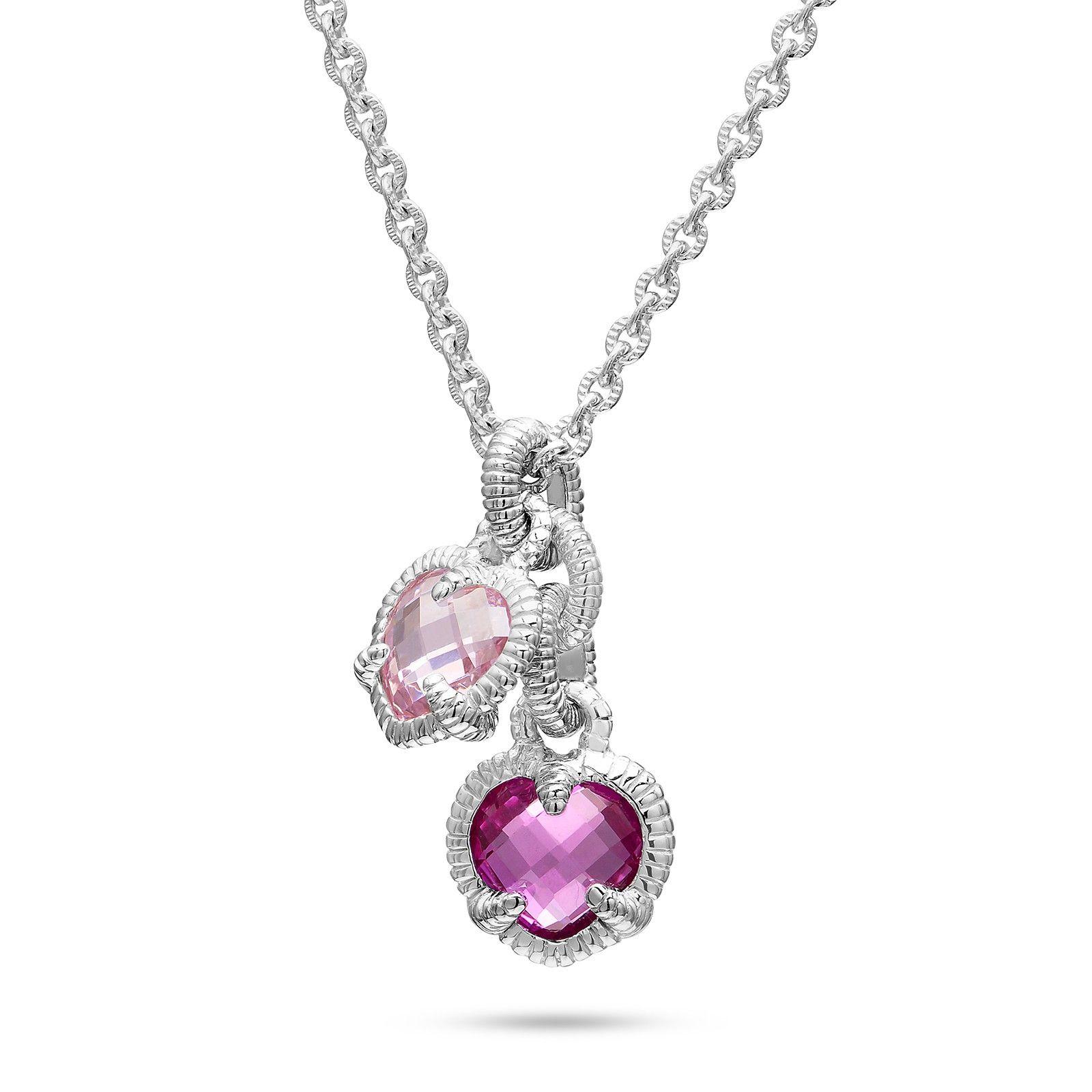Judith Ripka Sterling Silver Twin Heart Pink Corundum & Pink
