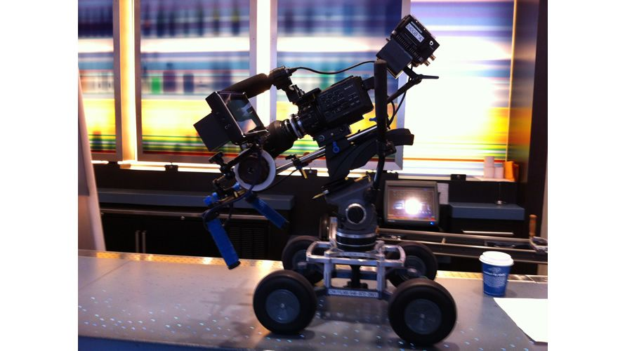 """MYT GLIDE LARGE (Pictured here : Sony FS-100 with PIX-240 ProRes recorder mounted on a 9"""" wide, 5 foot Slider Dolly w/ 100mm Bowl Mount)"""