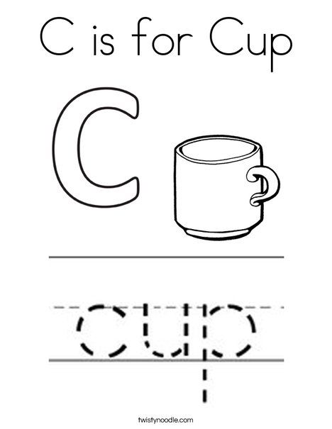 C Is For Cup Coloring Page Twisty Noodle Coloring Pages Food