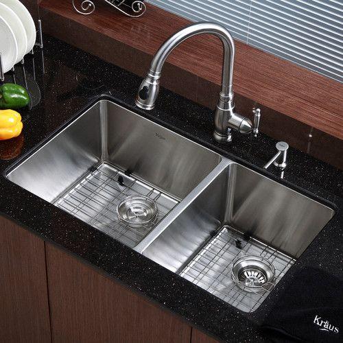 "Kitchen Sink 33"" L x 19"" W Double Basin Undermount with"