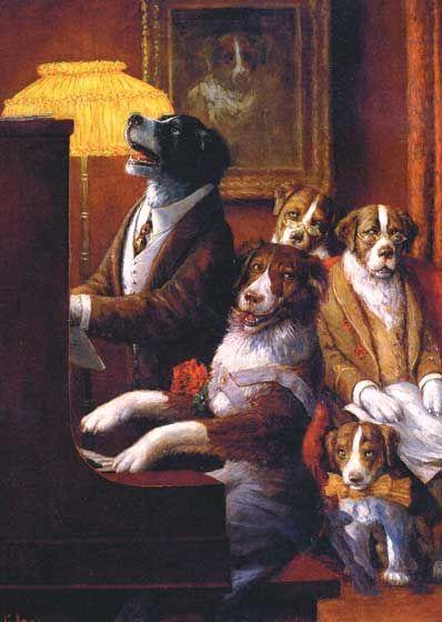 Dogs Playing Piano Birthday Greeting Cards Animal Art Dog Paintings Animal Art Prints