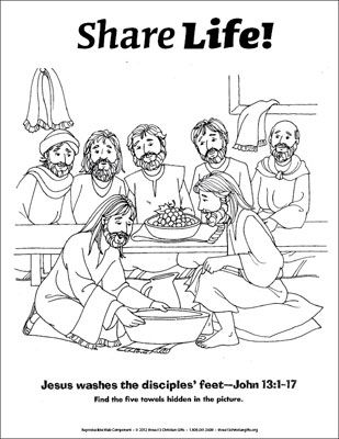Share Life Coloring Page Jesus Washes The Disciples Feet Downloadable Vacation Bible School Sunday School Lessons Preschool Bible