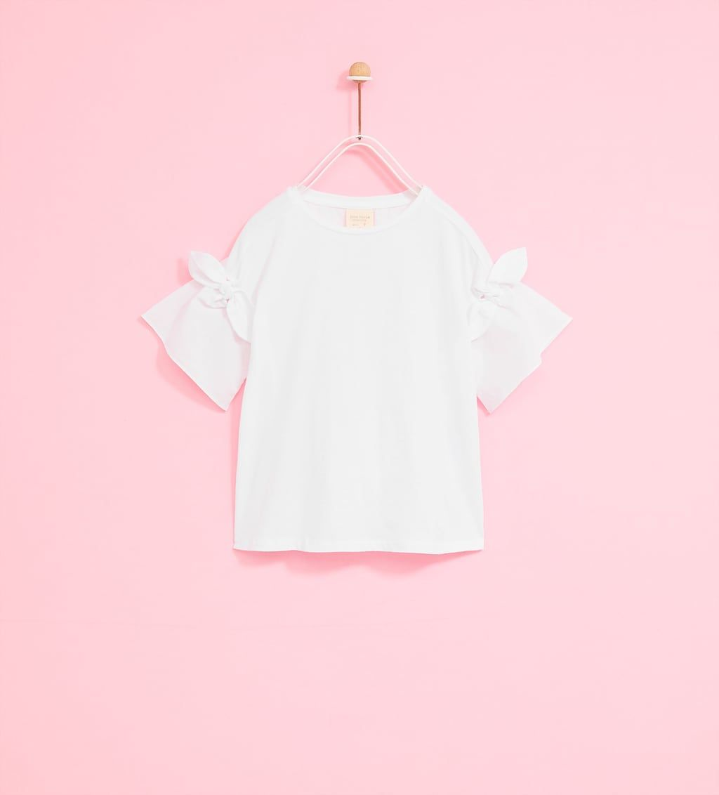 c2e8f86604f Image 1 of T-SHIRT WITH BOWS ON SLEEVES from Zara | ss18 tops ...