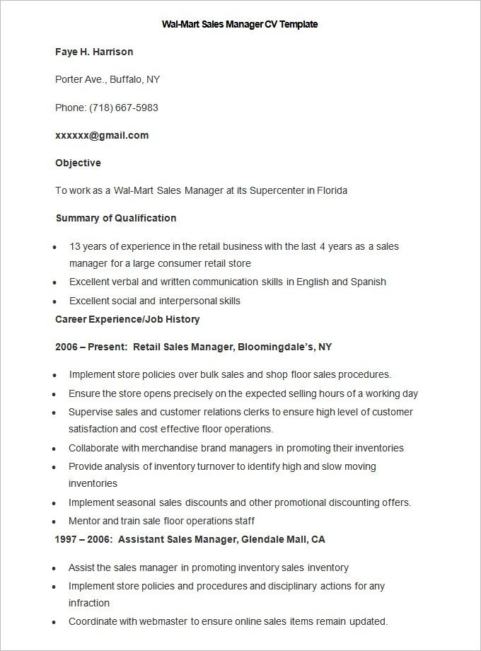 Sample Wal Mart Sales Manager CV Template , Write Your Resume Much ...