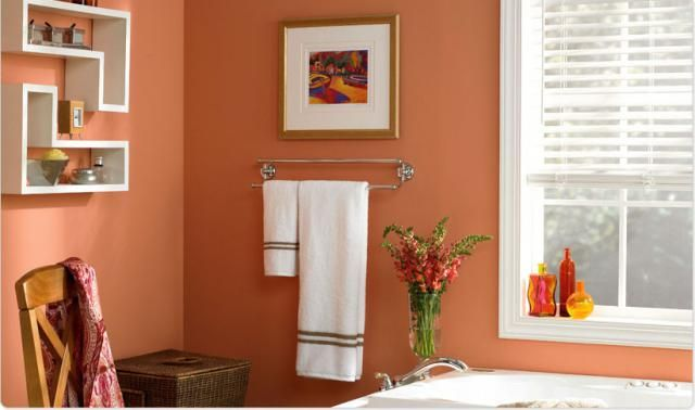 20 Bathroom Paint Colors To Inspire Your Redesign Peach bathroom