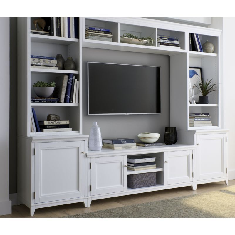 Harrison 6 Pc White Entertainment Center Glass Doors Crate And