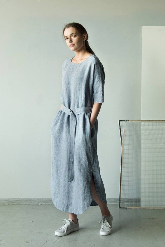 Linen Kimono Dress  Oversized Linen Tunic with Pockets  Loose Fit Linen Dress  Plus Size Linen Dress Tunic  Linen Tunic Dress