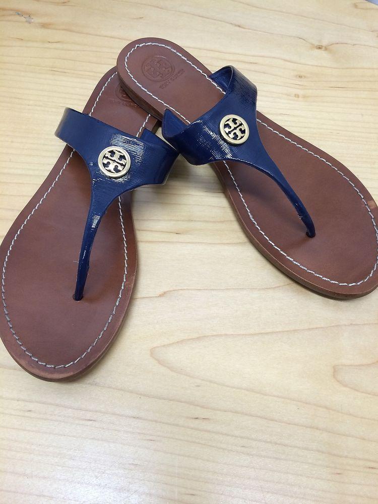 90fccb6ea9795 Tory Burch Cameron Navy Blue Patent Thong Sandal Size 10  toryburch   FlipFlops