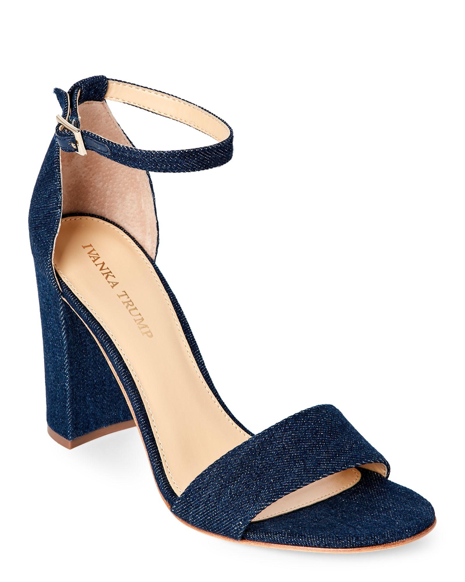 Ivanka Trump Delace Lover Denim Block Heel Sandals
