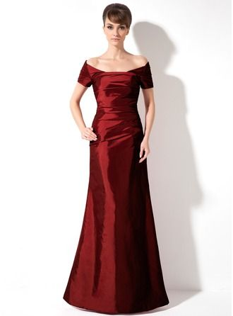 5f51249a9 Trumpet Mermaid Off-the-Shoulder Floor-Length Ruffle Lace Up Sleeves Short  Sleeves Burgundy Winter Fall General Plus Taffeta Height 5.7ft Bust 34in ...