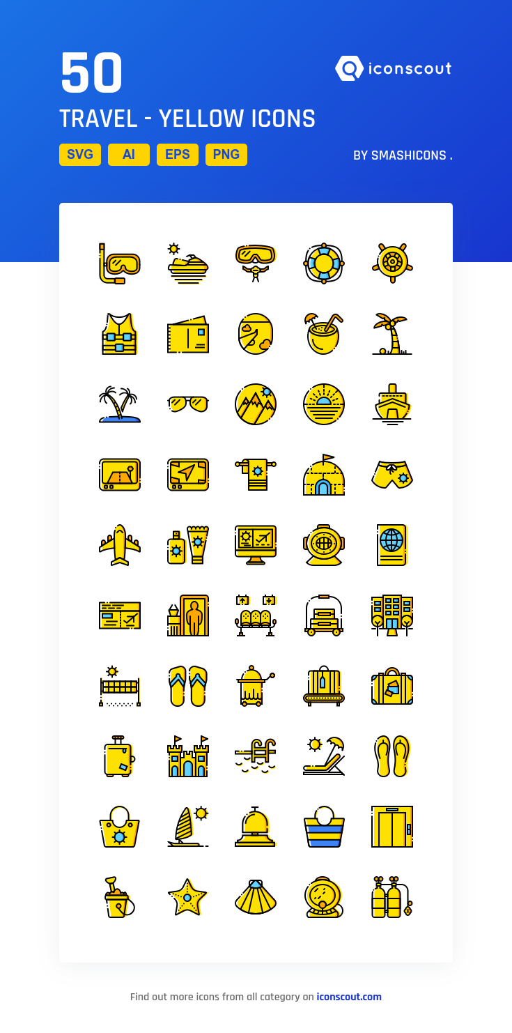 Travel Yellow Icon Pack 50 Filled Outline Icons Icon Icon Pack Tool Design