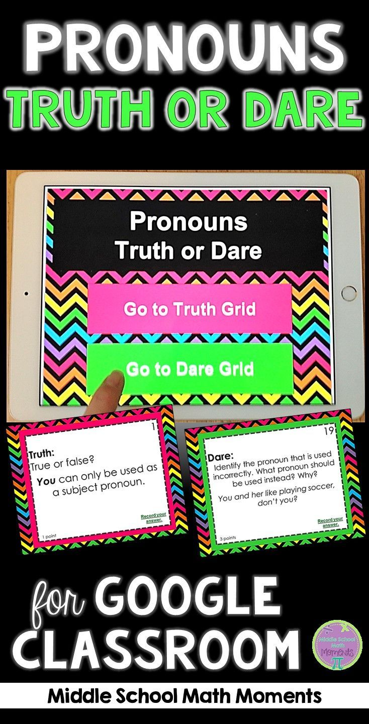 Pronouns Truth or Dare ELA Game for Google Classroom|Slides | Ela ...