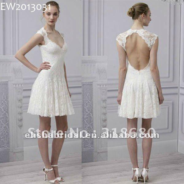 Sweetheart Cap Sleeve Ballerina Length Open Back Lace Sexy Short Wedding Dresses 2013 On AliExpress