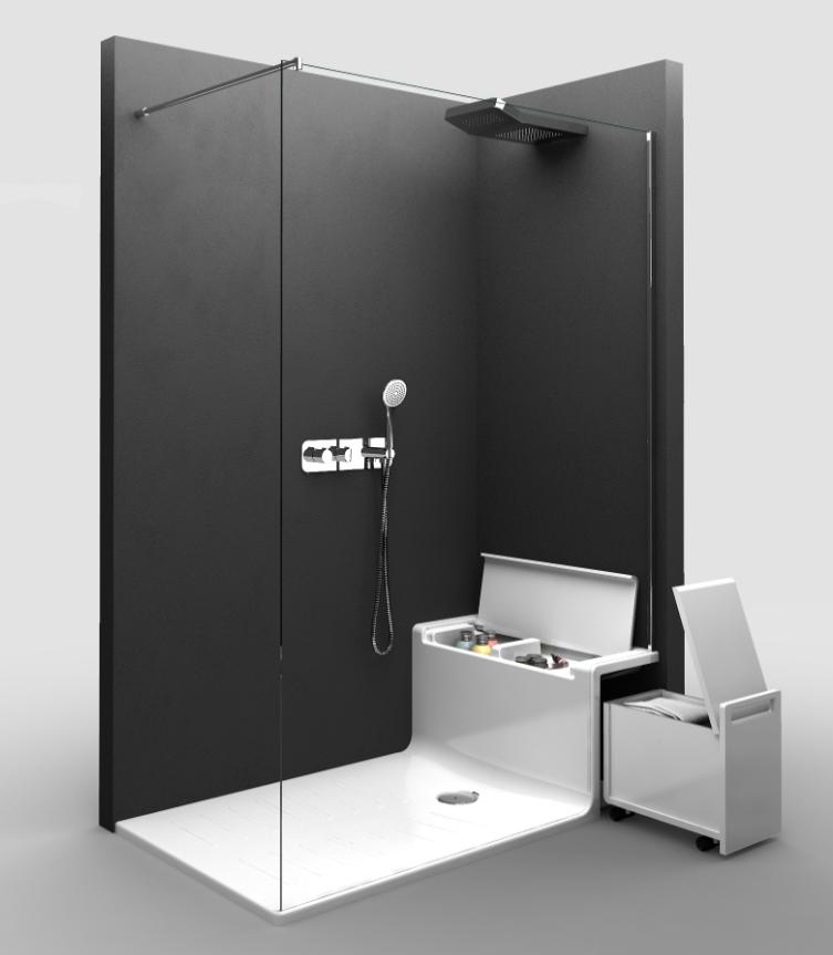 douche l italienne avec banc rangements int gr s par roca banc rangement bancs et douches. Black Bedroom Furniture Sets. Home Design Ideas