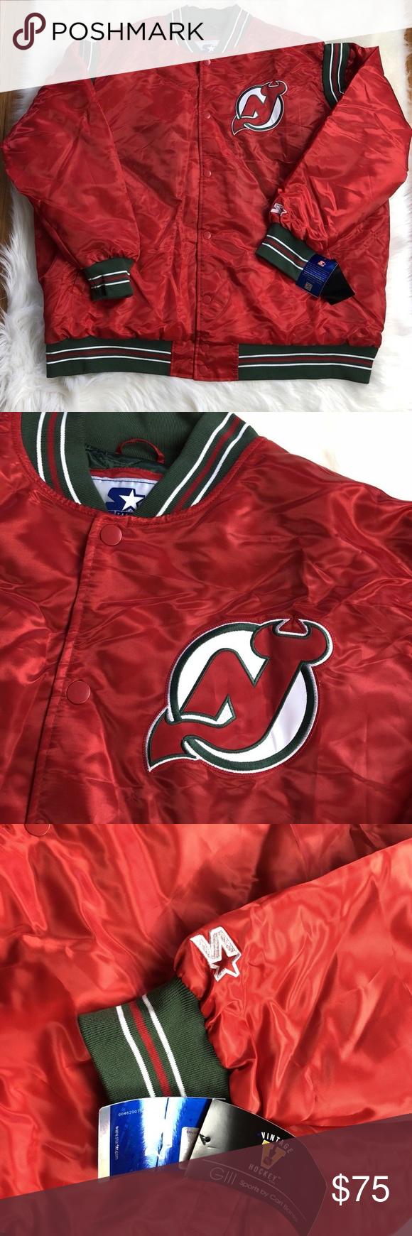 buy popular 3ff39 39ac0 New Jersey Devils STARTER Jacket Big Tall 5XL Men New Jersey ...