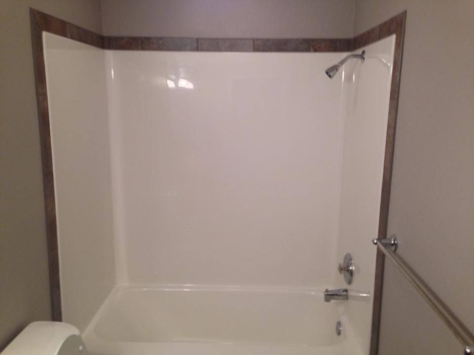Neat Way To Customize Your Fiberglass Shower Outline It With A Nice Tile Border Installed By