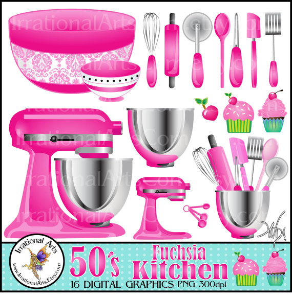 Kitchen Set Instan: 16 Digital Clipart Graphics