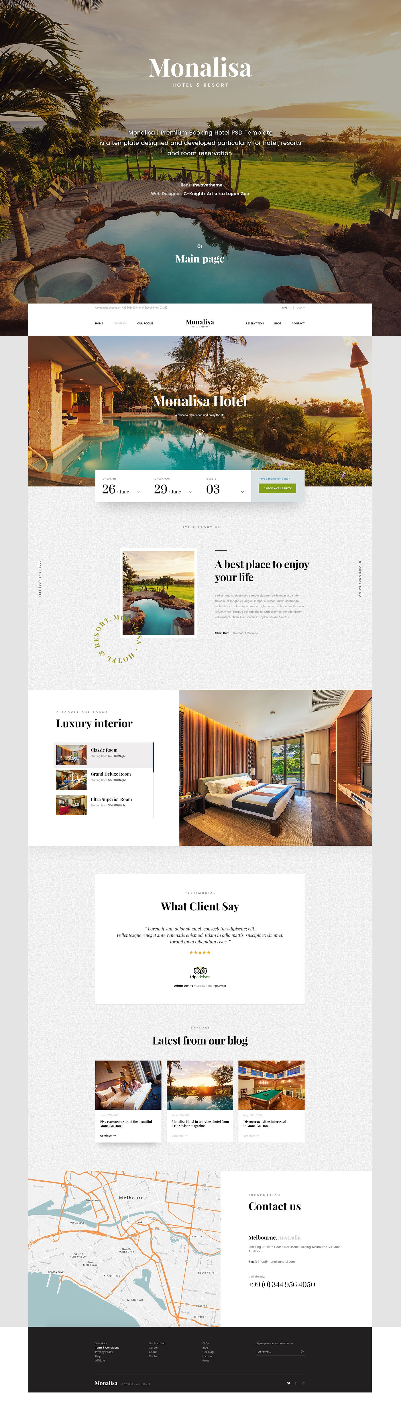 Monalisa Premium Booking Hotel Psd Template Is A Template Designed And Developed Particularly For Hotel Resorts Hotel Sites Web Layout Design Booking Hotel