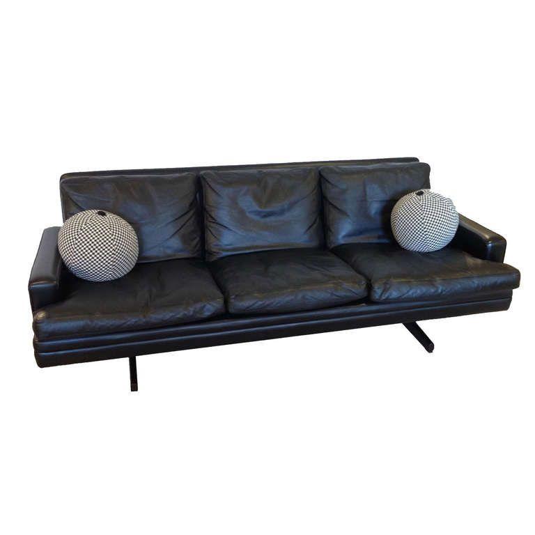 3 Cushion Black Leather Sofa by Fredrik Kayser for Vatne Mobler ca.1960's