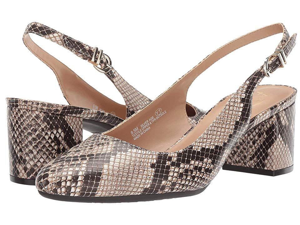 A2 by Aerosoles Silver Age Bone Snake Womens 12 inch heel Shoes Youll be the epitome of poise and sophistication in these A2 by Aerosoles Silver Age slingback pumps Fauxl...