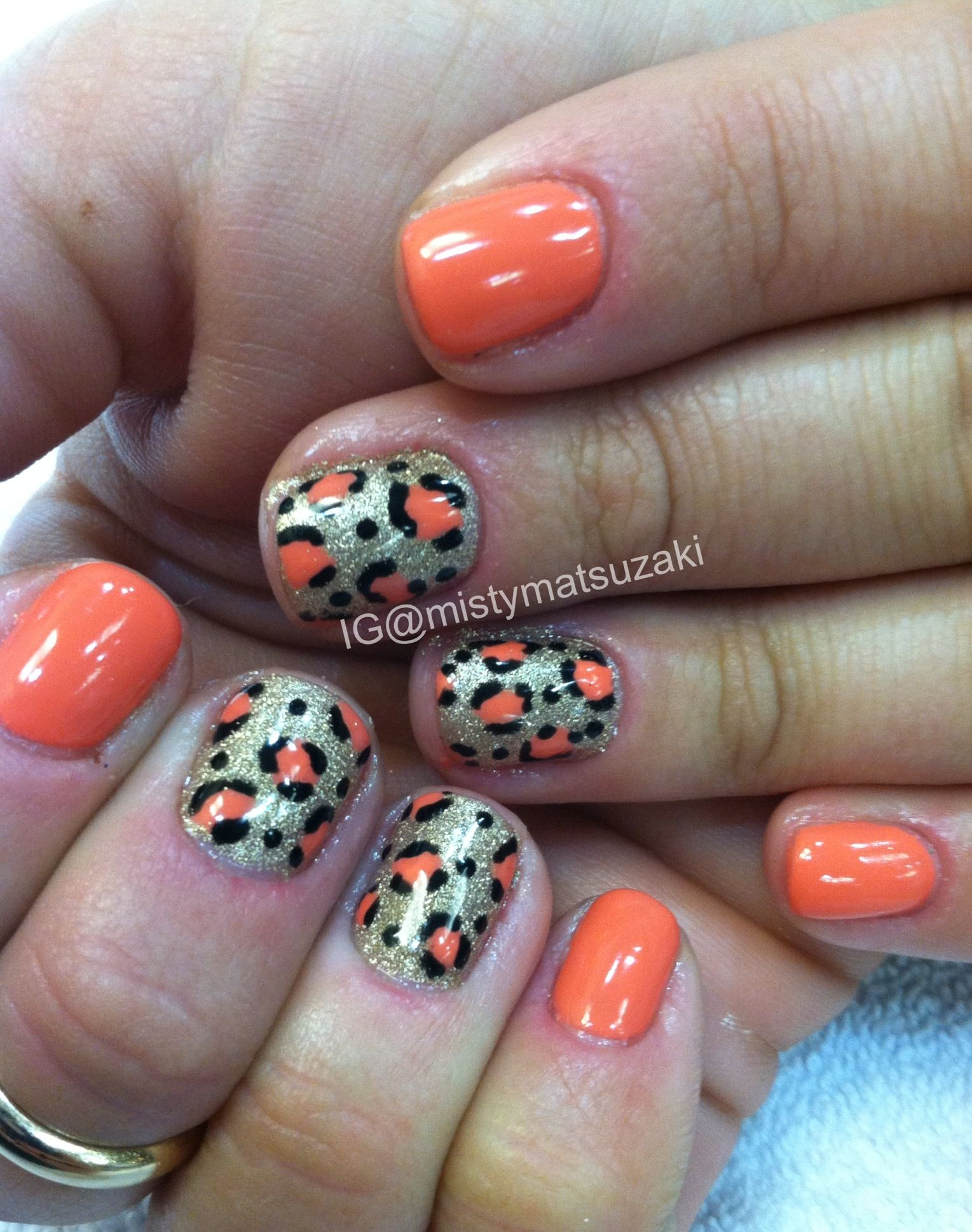 Coral leopard gelish nail art | My NAIL ART WORK | Pinterest ...