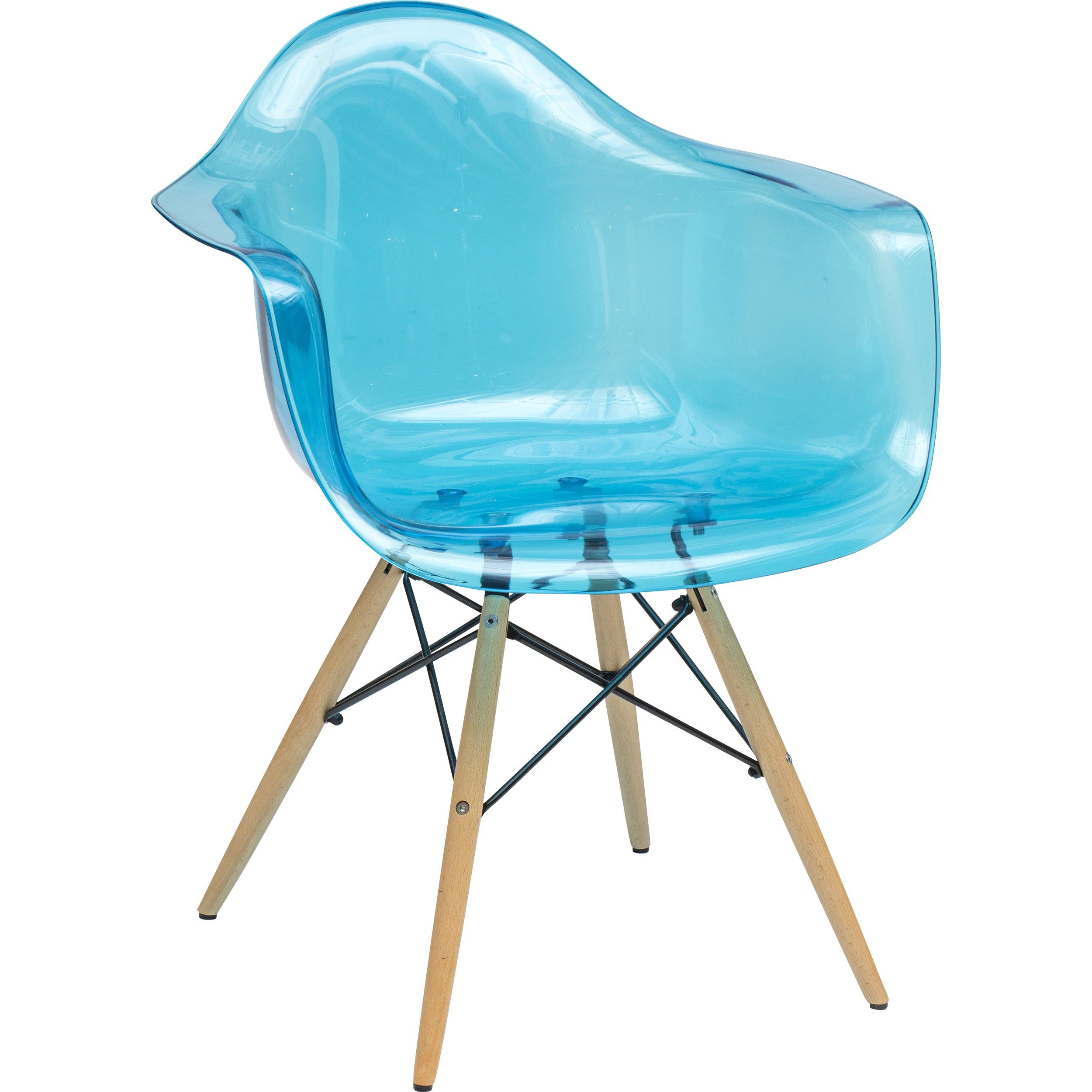 Declan Teal Blue Transparent Chair W Wood Leg Transparent Chair