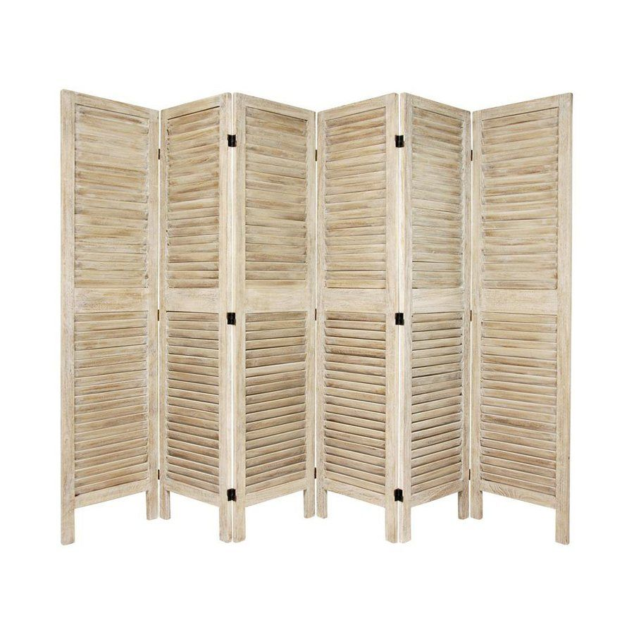Oriental furniture classic venetian 6 panel burnt white for Retractable privacy screen