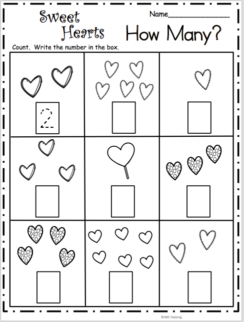 Free Valentine's Day math worksheet. Count and write the number of hearts in each box. Students practice the numbers from 1 to 6.