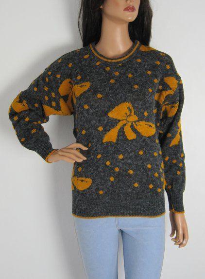 Vintage 1980s Unworn Orange & Grey Novelty Bow Print Jumper available to buy online at Virtual Vintage Clothing, £25