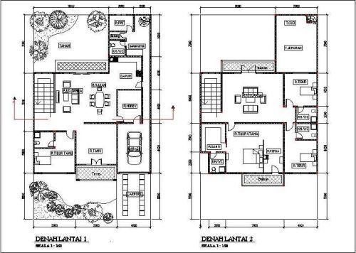 Alternatif Memilih Gambar Denah Rumah 2 Lantai Sesuai Idaman Denah Rumah Denah Desain Rumah Rumah Minimalis