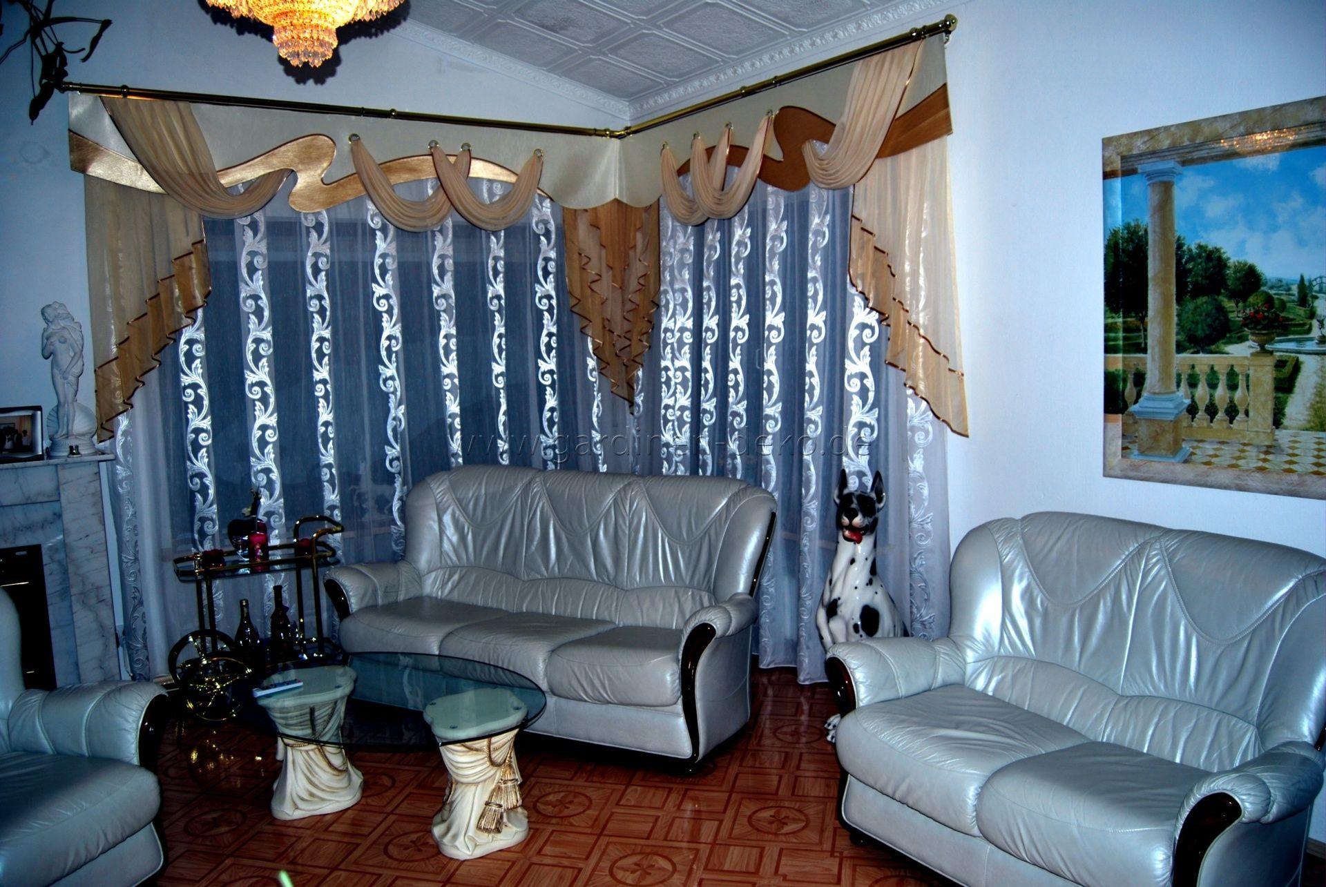 Extravaganter Wohnzimmer Vorhang im klassischen Stil in blau und ...