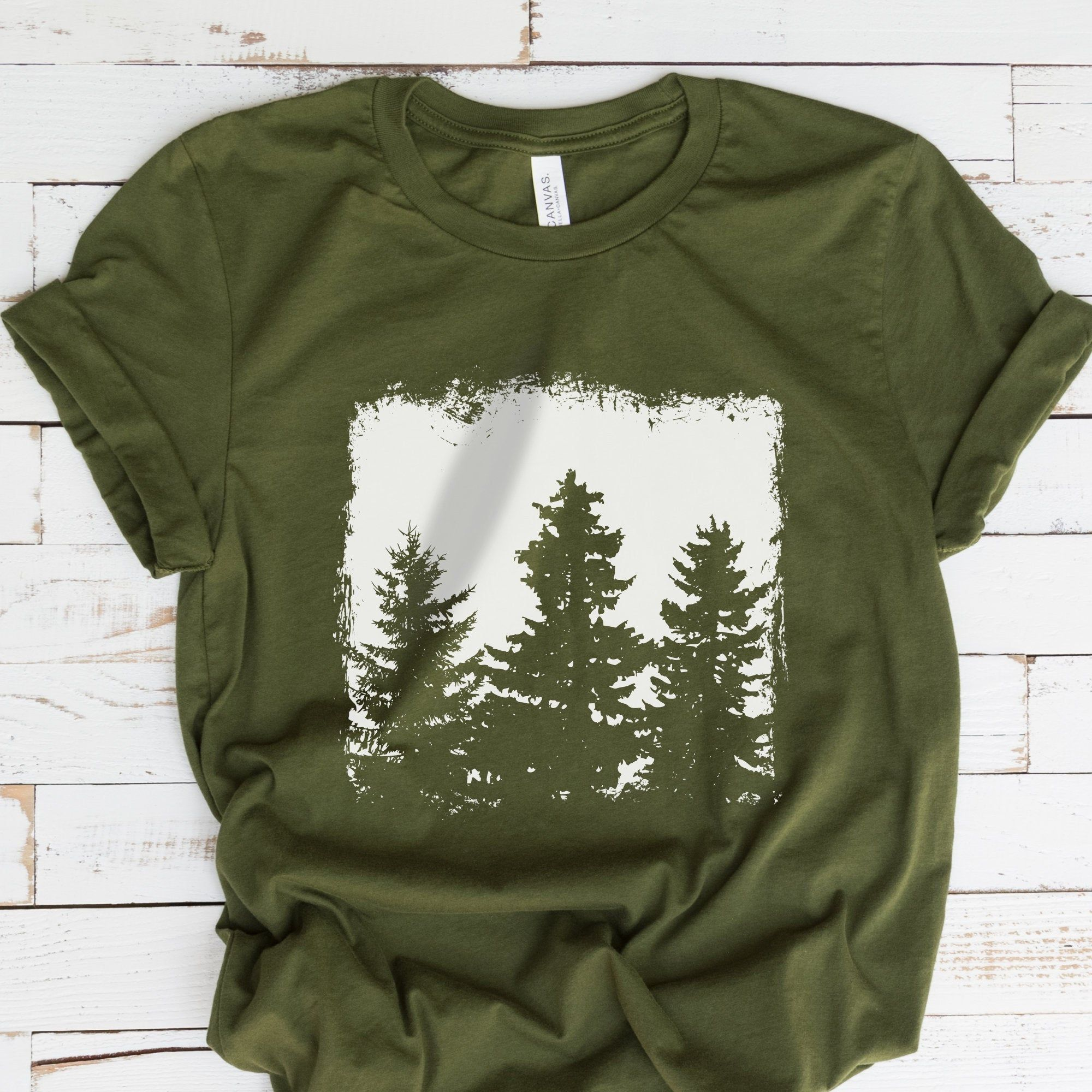 Forest Silhouette T-Shirt Tree Graphic Tee Nature T-Shirt | Etsy