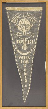 Woman's Suffrage: Rare Gauze 1913 Suffrage Pennant. Most known suffrage pennants are made of felt, a few of linen. This is the first that we have seen made with white painted letters on gauze.