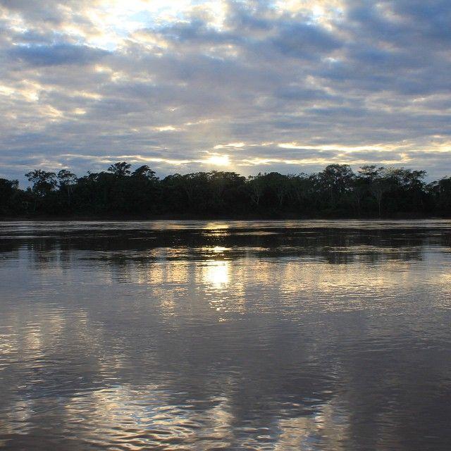Pascaline @cornalinangel Instagram photos   Sunrise first lights on Rio Madre de Dios in Amazonia around 5:30 am.