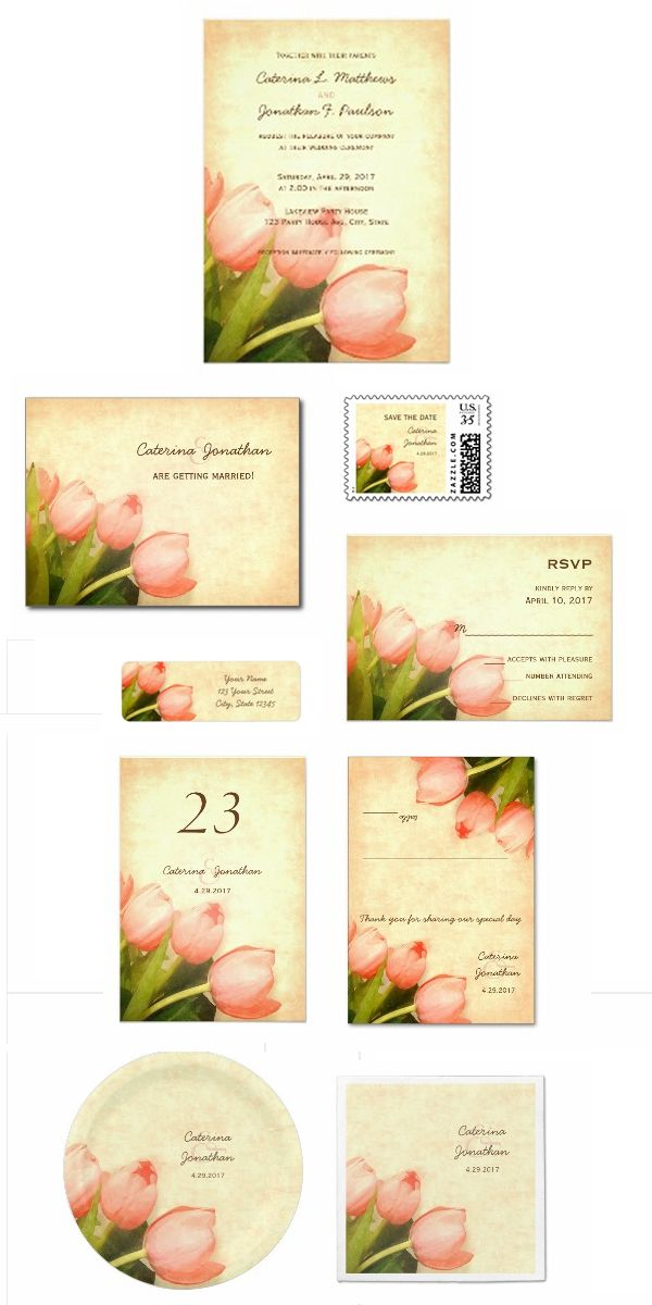 Romantic spring wedding invitation set with pretty pink tulips on ...