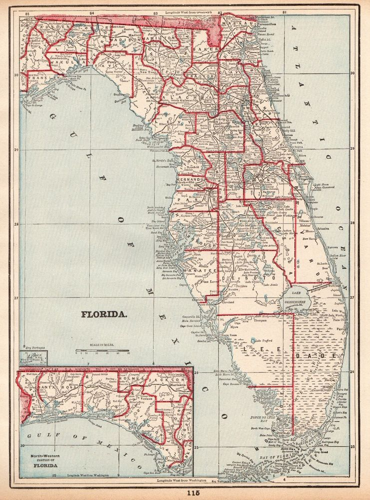1892 Antique FLORIDA Map VINTAGE Original State Of Florida Gallery Wall 4233