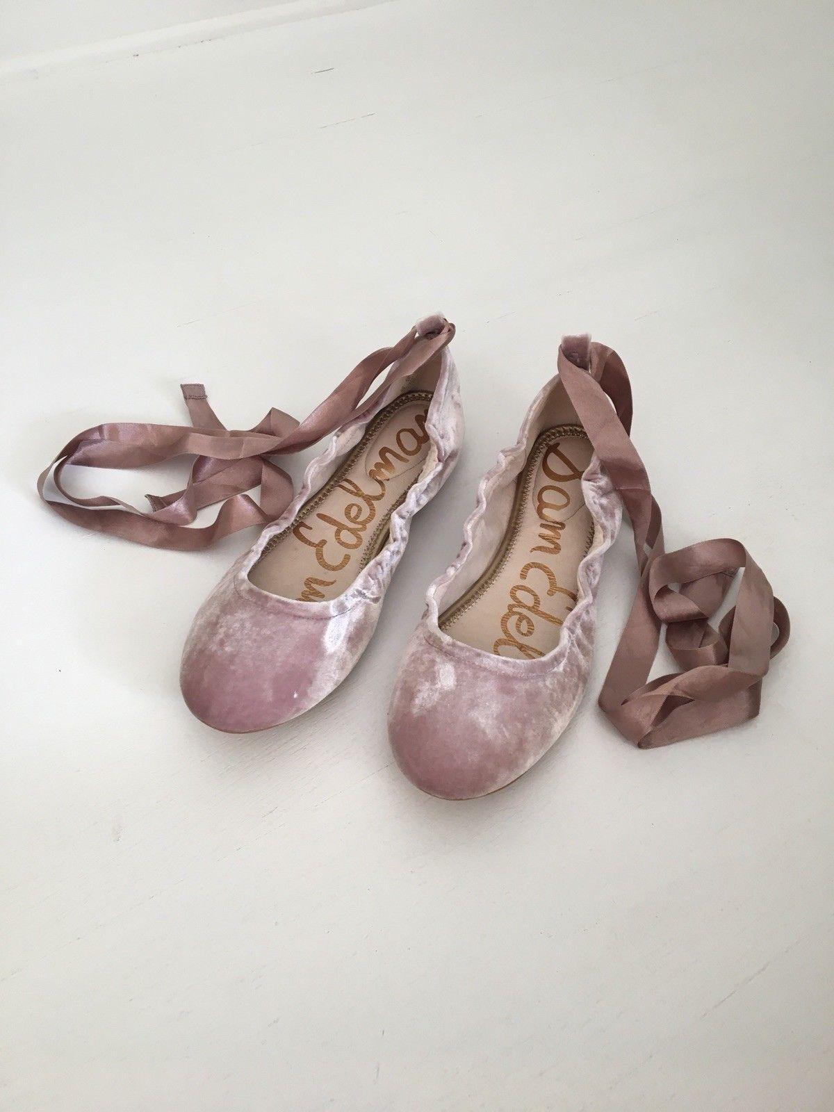 bbf72e3c3 NEW! Sam Edelman Fallon Blush Velvet Ballet Flats Lace Up Size 11 ...