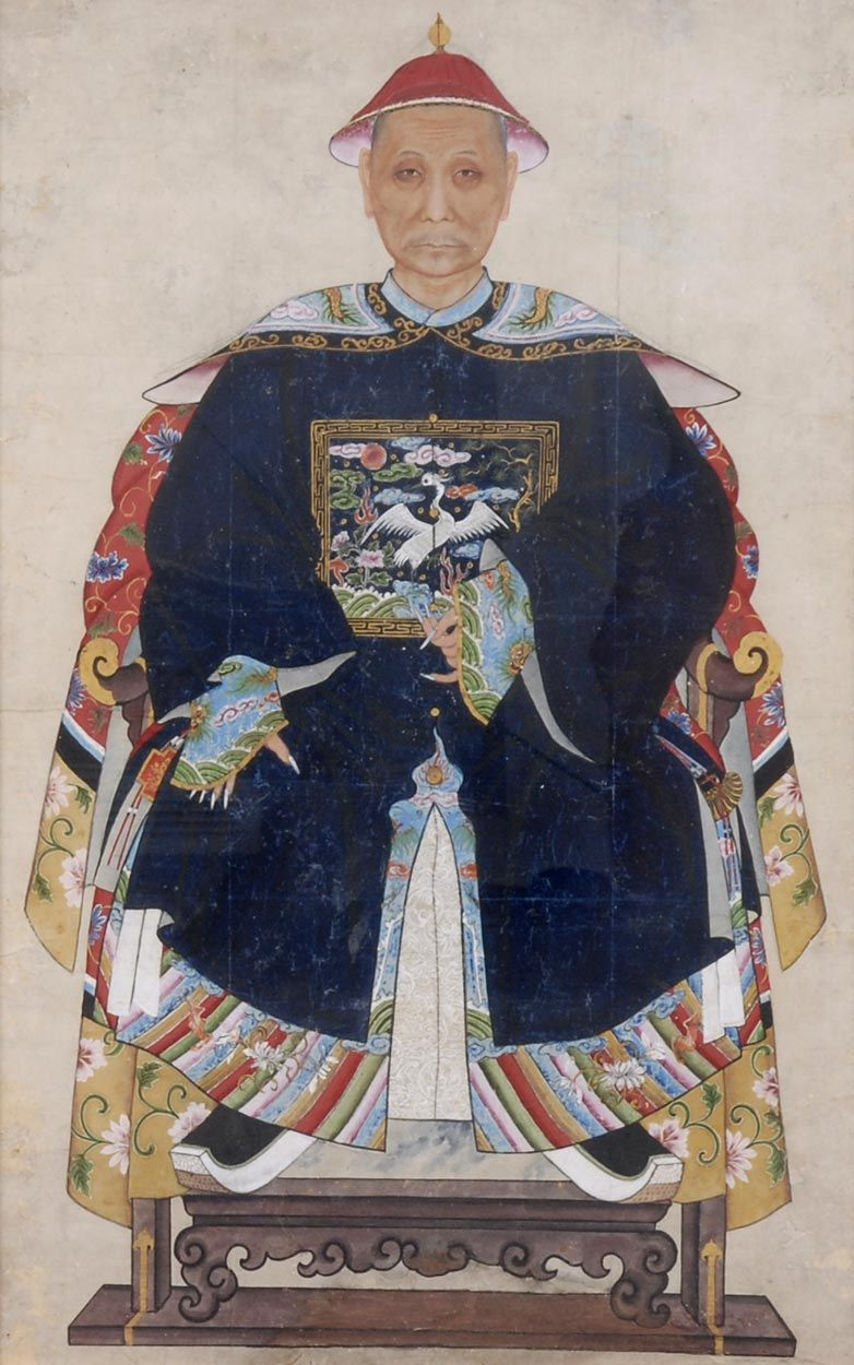 Chinese Ancestor Portrait Of A Mandarin Chinese Portrait