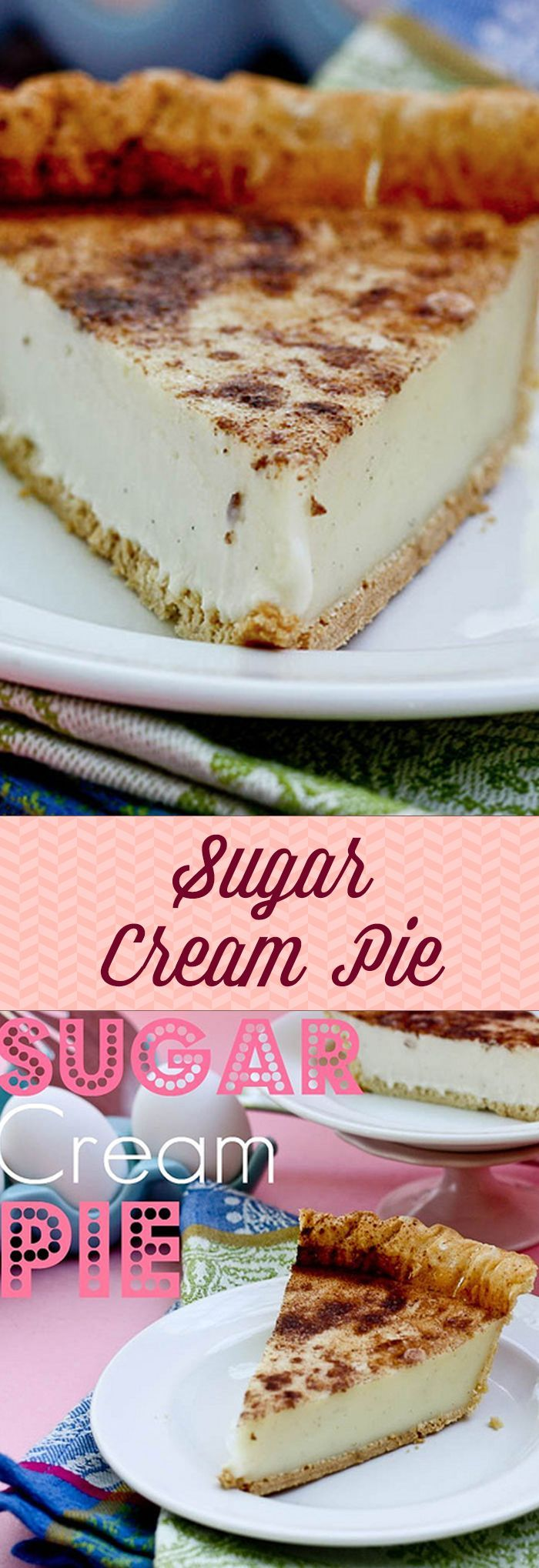 Sugar Cream Pie -- this pie is SO good and cuts like a dream!! Love the crackly cinnamon top. #sugarcreampie