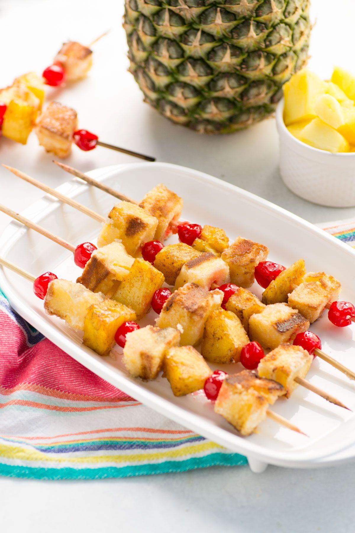 Pineapple upside down cake kabobs campfire desserts