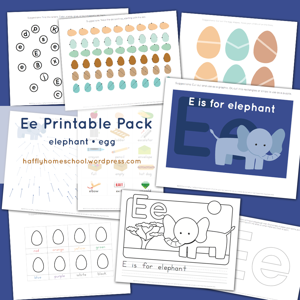ee elephant and egg printable pack letter e activities preschool letters letter e. Black Bedroom Furniture Sets. Home Design Ideas