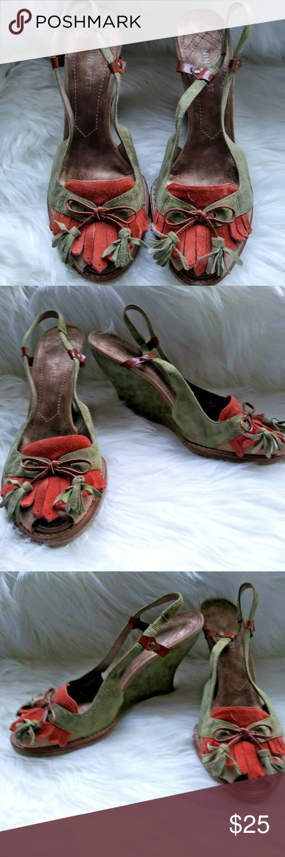 NINE WEST WEDGE SANDALS SIZE 7.5M NINE WEST WEDGE SANDALS SIZE 7.5M GREEN /ORANGE COLOR.#0227 THE COLOR'S VARY DEPENDING ON YOUR VIEWING DEVICE. NO STAINS,RIPS OR VISIBLE DAMAGE.PLEASE SEE PICTURES! IF THERE ANY QUESTIONS FEEL FREE TO MESSAGE US. Nine West Shoes Wedges