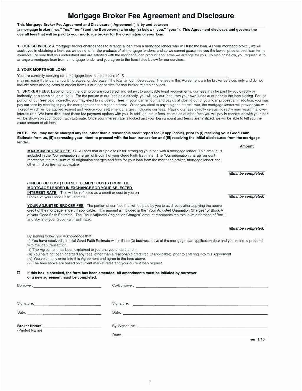 Printable mortgage broker agreement Template Mortgage